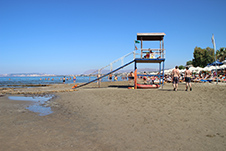 Agia Marina beach in Chania, Crete - The lifeguard tower